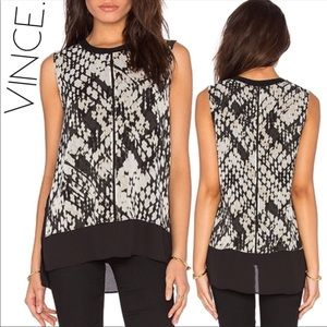 3/$50 Vince silk tunic snake watercolor blouse M